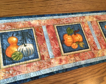 Autumn Harvest Quilted Table Runner, Harvest Table Runner, Handmade Fall Table  Runner