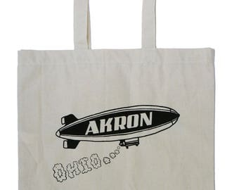 Akron Ohio Blimp Natural Canvas Tote
