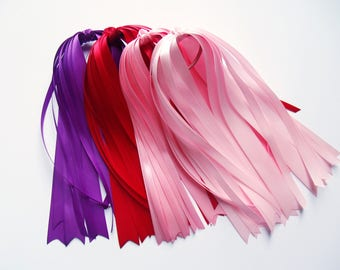 Satin Hair Streamers - Pink, Purple, Red Pony Tail Streamer, You Choose Color