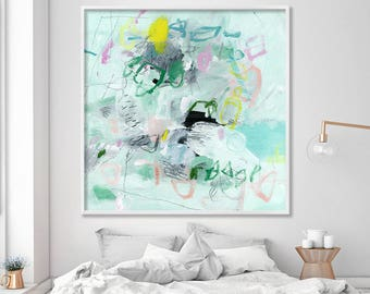 LARGE print of ABSTRACT modern Painting, Mint green Giclee Print, Coastal Canvas art by Duealberi