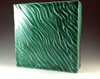 Wall Art, Abstract Art, Wall Hanging, Handmade Pottery, Home Decor, Emerald Green Pottery, Office Decor, Modern Art, Ceramic Box, W015