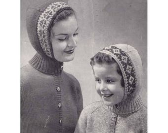 1960s Head Snugs for Women and Girls by Beehive Original Knitting Pattern Multi Colour Face Edge Designs