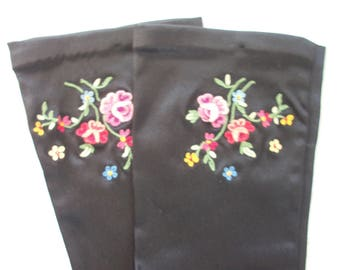 Embroidered Flowers ~ Black Satin Gloves ~ Bohemian Style ~ Gypsy Chic ~ Romantic Asian Embroidery HTF