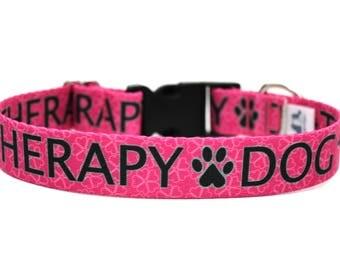 "Therapy Dog Collar 1"" Hot Pink Dog Collar"