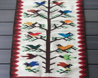 Zapotec Rug Southwestern Hand Woven Bird Tree Of Life Rug Boho Decor  Vintage Textile Art Rustic