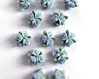 Ceramic Bisque Roses, Glazed Ceramic Roses, Handmade, Flat Back Flowers, Blue, Triple Cluster Flowers, 13mm, B'sue Boutiques,Item03245