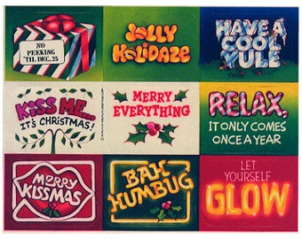 Vintage 80's AMERICAN GREETINGS Stickers Sheet ~ CHRISTMAS Holiday Phrases Typography