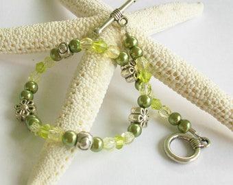 Lemon Lime Beaded Bracelet, Swarovski Pearl and Crystal Bracelet or Anklet, Lime Green Beaded Anklet, Flower Girl Jewelry, Summer Jewelry
