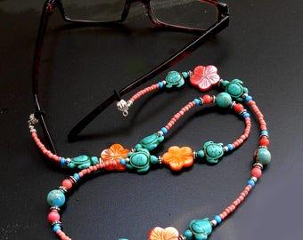 Turquoise Coral Sea Jasper Mother of Pearl Hawaiian Honu Hibiscus EyeGlass Chain/Holders