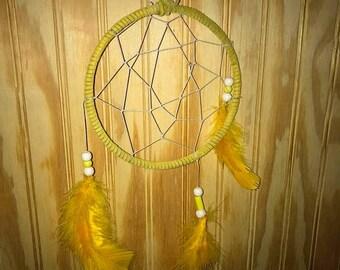 Bright yellow medium siz e dreamcatcher