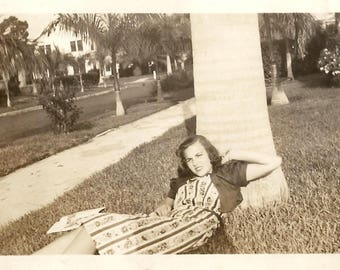 "Vintage Snapshot ""Sidewalk Anxiety"" Reclining Woman Magazine Palm Tree Street Photography Found Vernacular Photo"