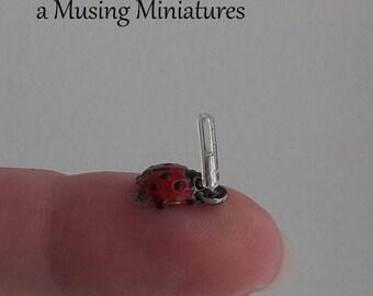 Ladybug Rain Gauge in 1:12 Scale for Dollhouse Miniature Garden