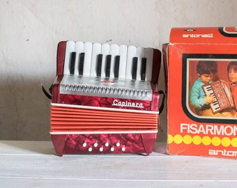 Vintage Toy Accordion // Italian Fisarmonica Child's Musical Instrument // Educational Toy or Nursery Decor