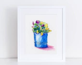 Watercolor Painting, Floral, Potted Plant, Fine Art Print, Watercolor Sketch, Ink, Minimalist, Garden Floral, Abstract Art, Bohemian