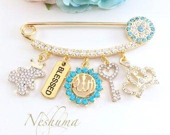 Luxury Allah Stroller Pin, Allah Jewelry Charm, Evil Eye Baby Pin, Hijab pin, Muslim baby gift, Islamic baby gift