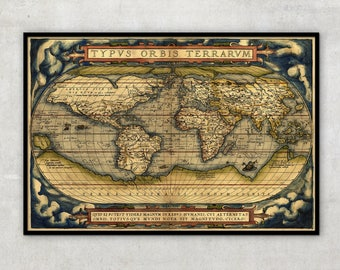 Old World Map - Ancient maps - Historical map - by Abraham Ortelius (1564) - World map poster, 014
