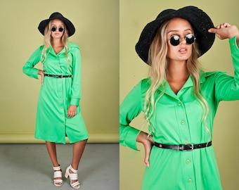 70s Apple Green Long Sleeve Dress Vintage Button Down Collar Dress