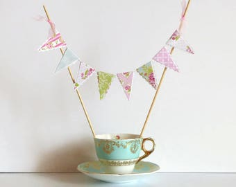 Pretty Florals Cake Bunting Topper - Pink, Green, Blue - Vintage Tea Party