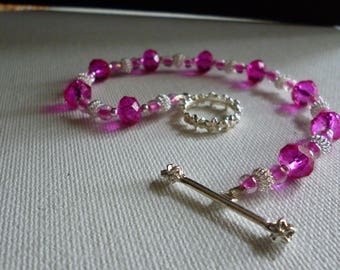 Bright Pink and Silver Beaded Bracelet with Floral Toggle Clasp