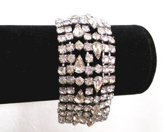 Rhinestone wide cuff bracelet, vintage 1960s, 8 inches long, 1-1/4 inches wide, sparkly for your wedding, prom, holiday, warm white crystals