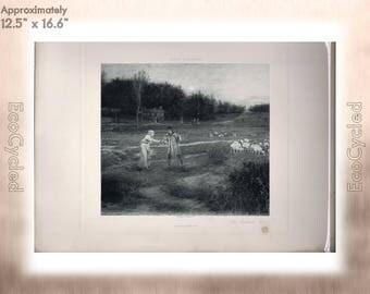 The Shepherd's Idyl by George H Boughton Antique Photogravure Print Goupil Vintage Paper Ephemera zyxG24