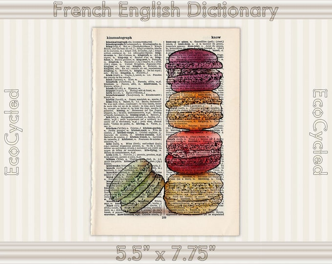 Macarons French Cookies on Vintage Upcycled Dictionary Art Print Book Art Print Recycled print kitchen art bookworm gift macaron cookie