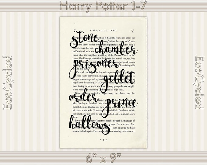 Harry Potter Book Titles 2 Graphic Word Art on Vintage Dictionary Art Print/ Book Art Print/ book lover gift/book page art/ typography art