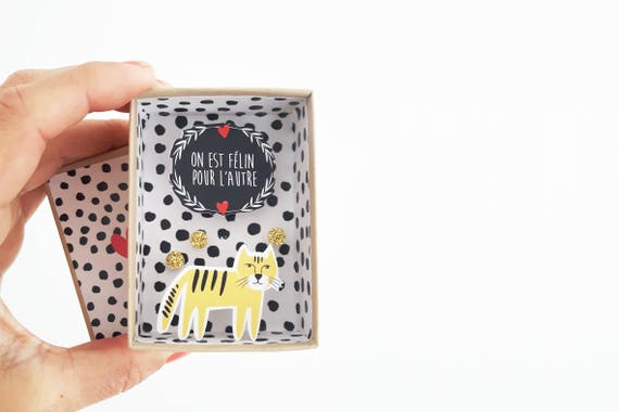 On est félin pour l'autre message box / Miniature Art / Diorama / 3d Art / Decorative Matchbox / Miniature paper diorama / Love gift