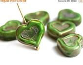ON SALE Green Heart beads, Picasso czech glass beads, table cut, glass heart - 14mm - 6Pc - 2975