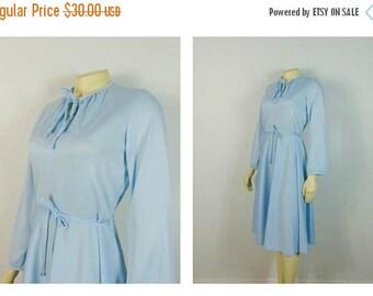 SALE Vintage Dress 70s Mad Men Baby Blue Belted Day Dress Modern Size Small