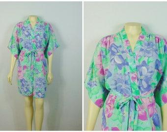 Vintage Robe 1980s 80s Robe Val Mode Floral Dressing Gown Robe Seafoam Mint Fuchsia Purple Flowers Size Medium Modern Medium to Large