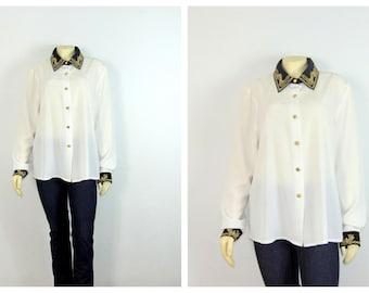 Vintage Blouse | Vintage Shirt | Vintage Nautical Captain Black White Gold Blouse | Gold Buttons Sz 16 Modern XL