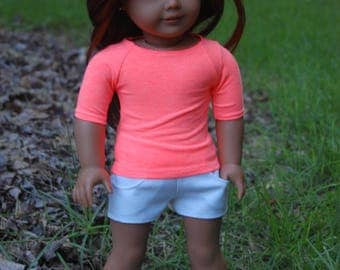 SALE-2 piece-fits American Girl doll clothes/18 inch doll clothes/AG doll clothes/doll shirt/doll outifit/doll shorts/coral tee,shorts