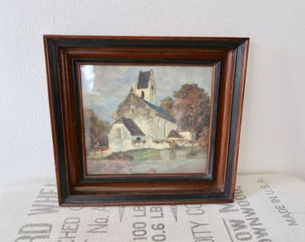 Vintage White Church Framed Art Print Picture Wall Hanging Decor