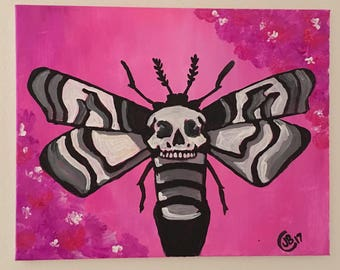 Pink and grey death moth original painting