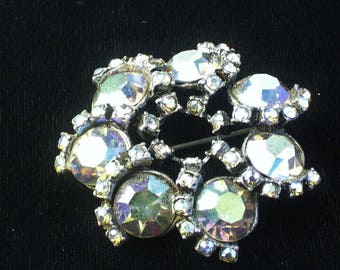 1950's Blue Purple Aurora Borealis Large Rhinestone Wreath Style Hollywood Glamour Vintage Brooch Costume Jewelry Pin Gift For Her on Etsy