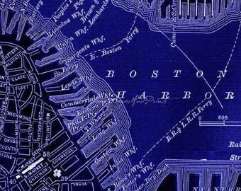Summer Sale Boston Antique Map Repro Choice of Vintage Chalkboard or Blueprint Photo Poster Print Sizes 16x20 to 24x30