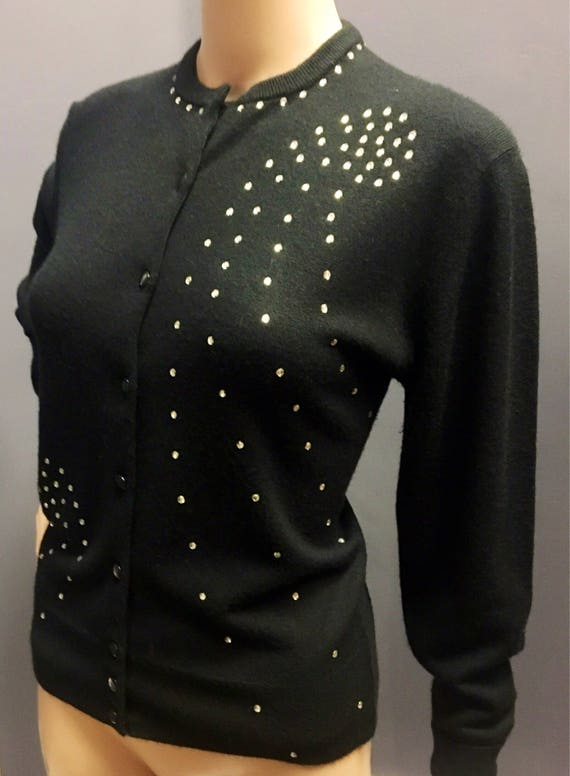Vintage 1950s 1960s Ultralon Black Rhinestone Sweater by Dorset XL 42 Inch Bust