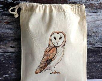 Barn Owl Bag - Drawstring Bag - Fairtrade Cotton - Ethical and Reusable - Original Design