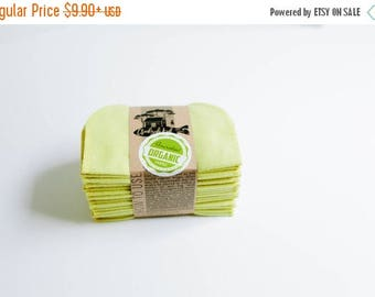 ON SALE Organic Cloth Wipes - Cloud9 Flannel Cloth Wipes - Organic Wipes - Double Layer -  Yellow - Citron Color  - Choose your Quantity & S
