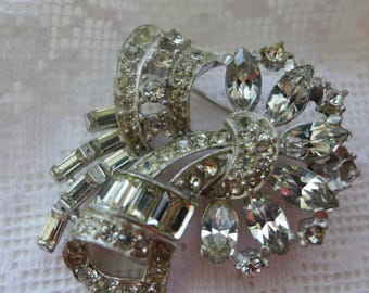 Rhinestone Brooch Pendant Art Deco Vintage Pin mixed cut Sparkly Rhinestone Pin Clear Crystal Rhinestones Dual Use Pendant pin