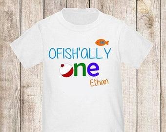 ON SALE Ofishally One Under the Sea Boys Fishing Personalized Birthday Shirt - ANY Age