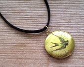 Bird Locket, Swallow Locket Choker Necklace, Art Image Locket, Woodland Jewelry, Bird Art Locket, Round Brass Locket, Photo Locket