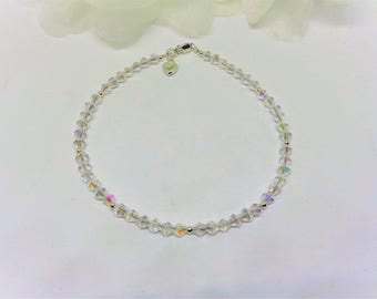Clear Ankle Bracelet with Heart Clear AB Crystal Anklet 925 Sterling Silver Wedding Ankle Jewelry Bridal Jewelry BuyAny3+Get1Free