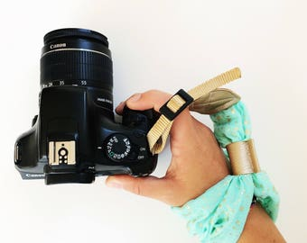 NEW Mint Wristlet Camera Strap, Wrist DSLR Camera Strap, Stylish Mint and Gold Camera Strap
