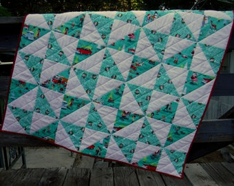 Retro Christmas Quilt, Teal and White Quilt, Teal White Red Quilt, Argyle Quilt, Half Square Triangle Quilt