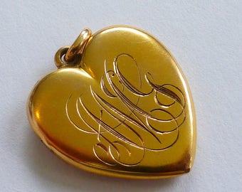 Solid Gold Victorian Heart locket Monogrammed AMG?