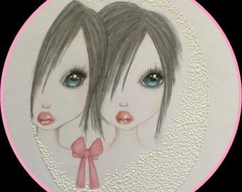 Original art Siamese twins fantasy lowbrow art