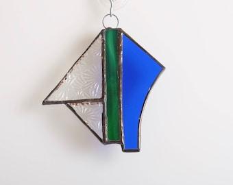 Green and blue abstract geometric glass suncatcher