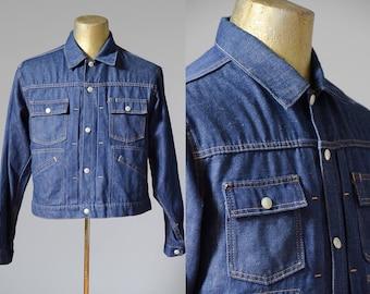 60s Selvedge Blue Denim Ranch Hand Four Pocket Jean Jacket JC Penney Towncraft